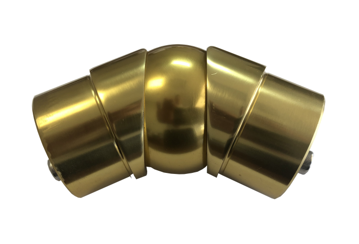 Gold anodized aluminum adjustable angle connector - b52 - aresscorp