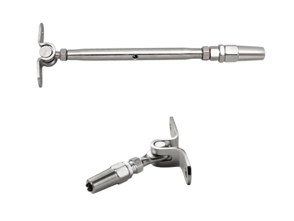 Aresscorp 1/8 Cable Railing Kit. Wall Mounted Toggle Swageless Tensioner Stainless Steel 316/Polished 1-Pack , Wall Mounted Toggle Swageless Terminal 1-Pack.